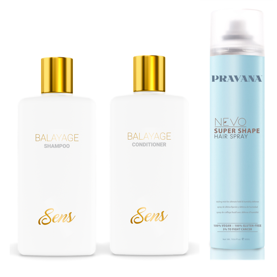 Sens Balayage Shampoo Conditioner And Pravana Nevo Super Shape Hair Spray