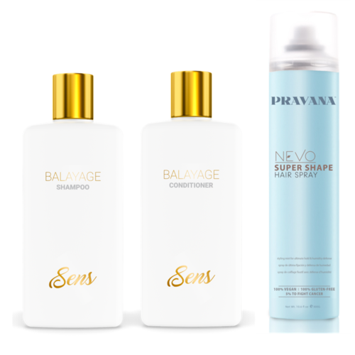 Sens Balayage Shampoo, Conditioner and Pravana Nevo Super Shape Hair Spray